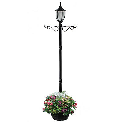 Sun-Ray Crestmont Solar Lamp Post and Planter - Black