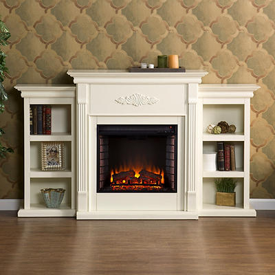 SEI Newport Electric Fireplace with Bookcases - Ivory