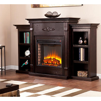 SEI Newport Electric Fireplace with Bookcases - Classic Espresso