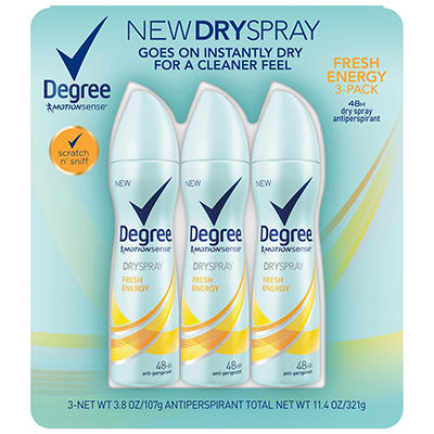 Degree MotionSense Dry Spray Fresh Energy Antiperspirant, 3 pk./3.8 oz