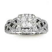 1.00 ct. t.w. Diamond Halo Twist Engagement Ring in 14K White Gold