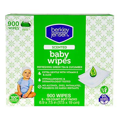 Berkley Jensen Green Tea & Cucumber Scented Baby Wipes, 9 pk./100 ct.