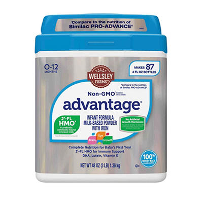 Wellsley Farms Non-GMO Advantage Infant Formula Milk- Based Powder with Iron, 3 lbs.