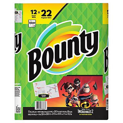 Bounty Super Roll Paper Towels, 12 pk. - Incredibles