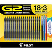 Pilot G2 Gel Ink Pens 18 Pk. Black & 3 Bonus FriXion ColorSticks Erasable Gel Pens