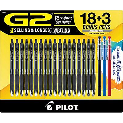 Pilot G2 Gel Pens, 21 pk. - Black/Blue/Orange/Turquoise/Pink