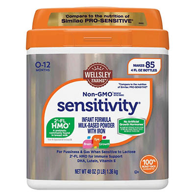 Wellsley Farms Non-GMO Sensitivity Milk Based Powder with Iron Infant Formula, 48 oz.