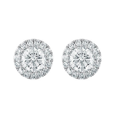 .50 ct. t.w. Round Diamond Solitaire Halo Stud Earrings in 14k White G