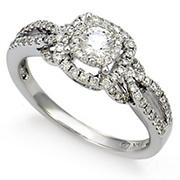 .65 ct. t.w. Diamond Halo Twist Ring in 14K White Gold