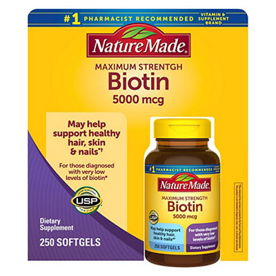Nature Made Biotin Maximum Strength Softgels, 250 ct.
