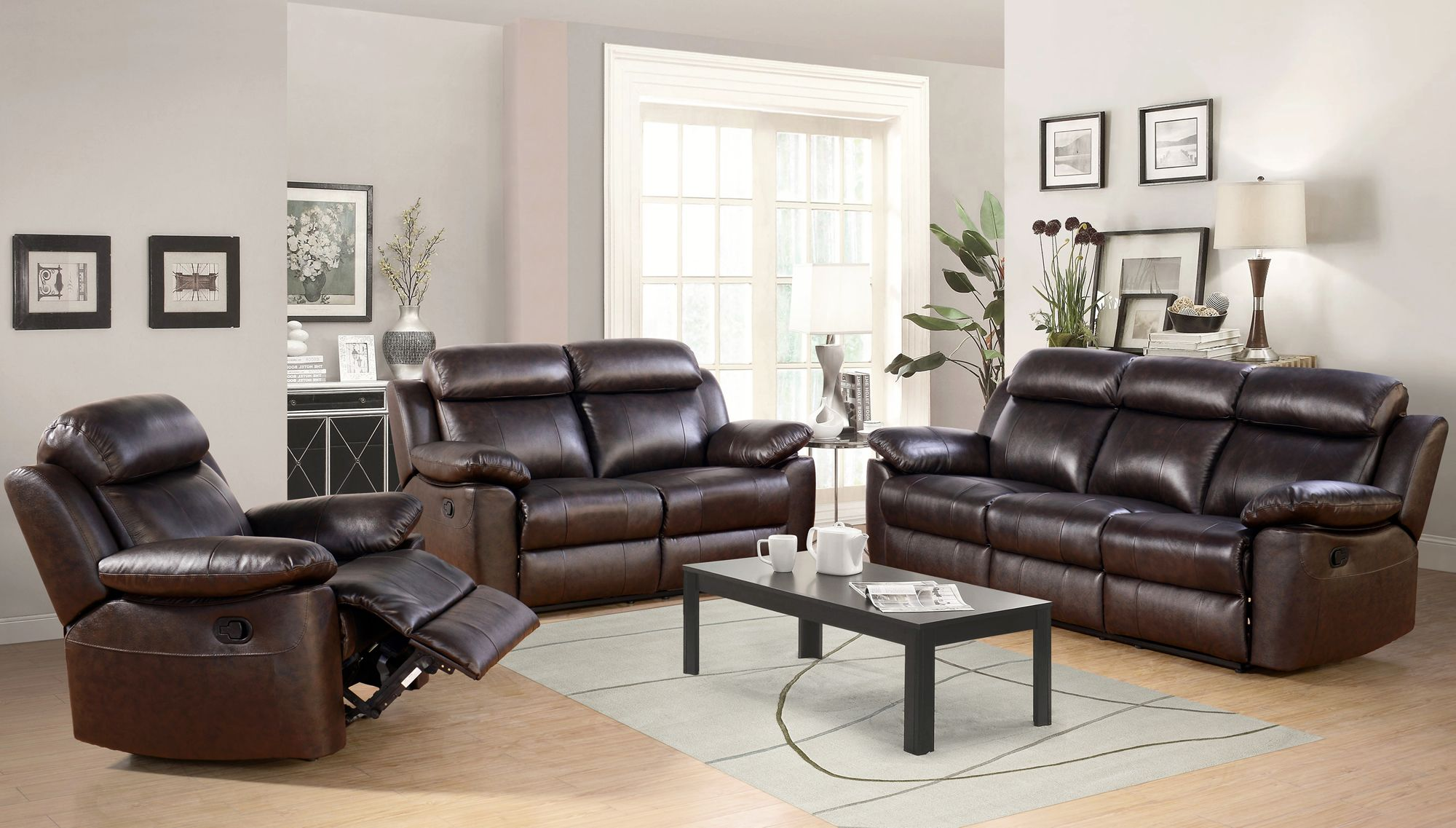 Abbyson Living Braylen 3 Pc Brown Leather Reclining Set