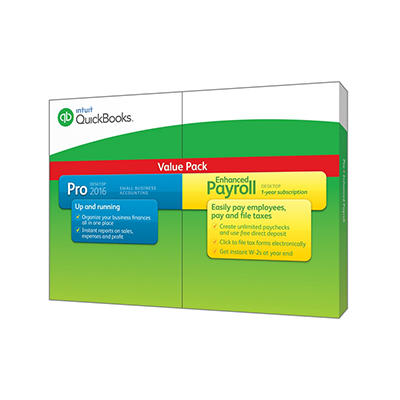 Intuit QuickBooks Pro 2016 Plus Enhanced Payroll Value Pack, 1 User