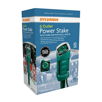 Sylvania 6-Outlet Power Stake with Timer