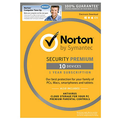 Norton Security Premium for 10 Devices, 1 Year, and Bonus Norton Compu