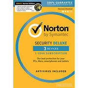 Norton Security Deluxe for 3 Devices, 1 Year, and Bonus Norton Utilities