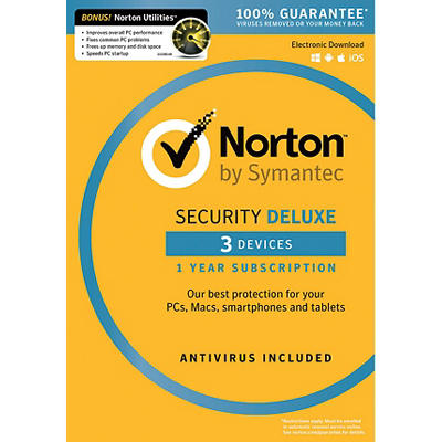 Norton Security Deluxe for 3 Devices, 1 Year, and Bonus Norton Utiliti