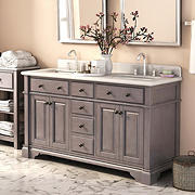 "Lanza Casanova 60"" Double-Sink Vanity - Antique Gray"