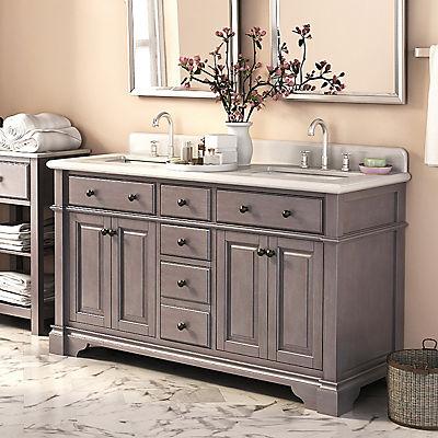 """Lanza Casanova 60"""" Double-Sink Vanity - Antique Gray"""