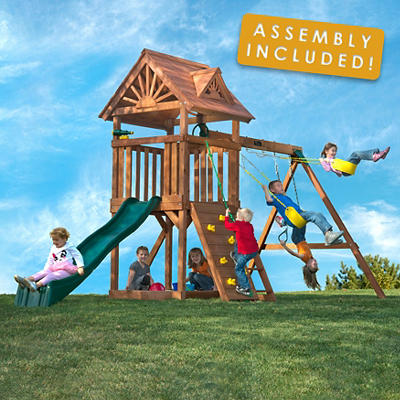 Backyard Play Systems Skycrest Flyer Swing Set with Professional Insta