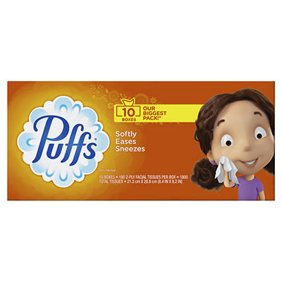 Puffs Basic Facial Tissues, 1,800 sheets