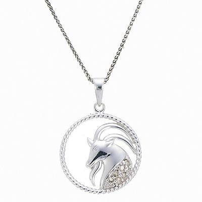 .11 ct. t.w. Diamond Zodiac Pendant Necklace in Sterling Silver - Capricorn