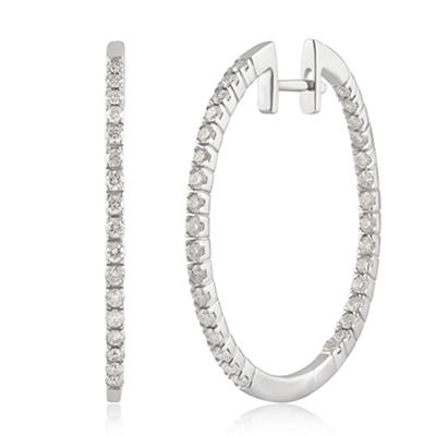 .75 ct. t.w. Diamond Hoop Earrings in 14k White Gold