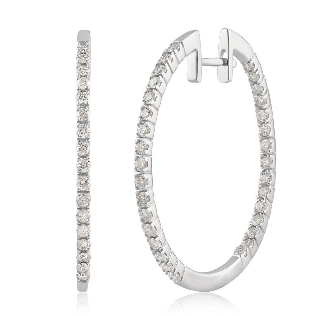 75 Ct T W Diamond Hoop Earrings In 14k White Gold