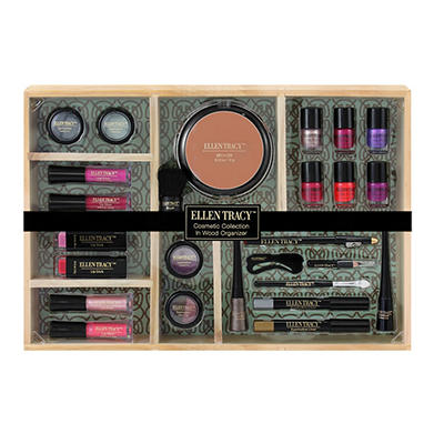 Ellen Tracy Cosmetic Collection with Wooden Organizer