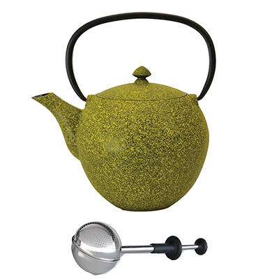 BergHOFF Cast Iron Tea Pot with Stainless Steel Infuser - Lemon