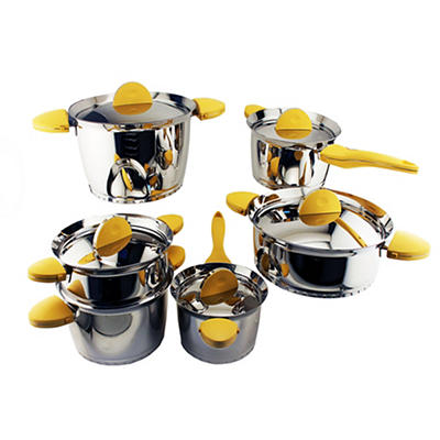 BergHOFF Stacca 11-Pc. Stainless Steel Cookware Set - Yellow