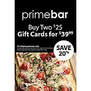 $25 Primebar Gift Card, 2 pk.