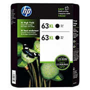 HP 63XL Black Ink Cartridges, 2 pk.