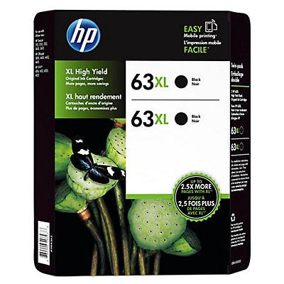 HP 63XL Black Ink Cartridges, 2 pk.