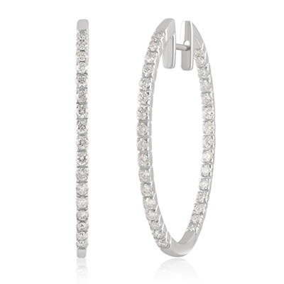 1.50 ct. t.w. Diamond Hoop Earrings in 14k White Gold