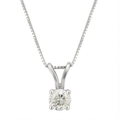 .25 ct. t.w. Diamond Solitaire Pendant Necklace in 14k White Gold