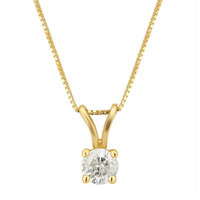 .25 ct. t.w. Diamond Solitaire Pendant Necklace in 14k Yellow Gold