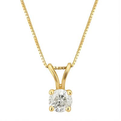 .33 ct. t.w. Diamond Solitaire Pendant Necklace in 14k Yellow Gold