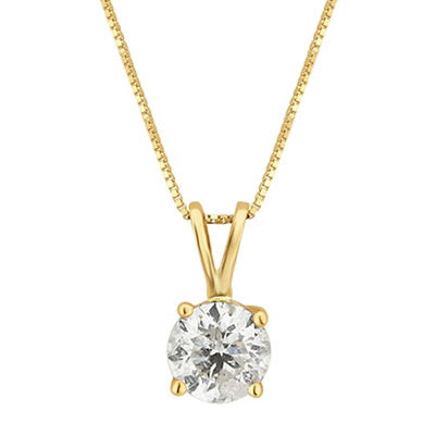 .75 ct. t.w. Diamond Solitaire Necklace in 14k Yellow Gold