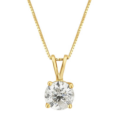 1.00 ct. t.w. Diamond Solitaire Necklace in 14k Yellow Gold