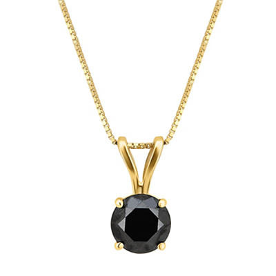 1.00 ct. t.w. Black Diamond Solitaire Necklace in 14k Yellow Gold
