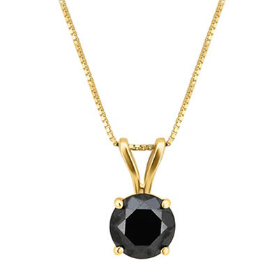 2.00 ct. t.w. Black Diamond Solitaire Necklace 14k Yellow Gold