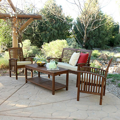 W. Trends 4-Pc. Acacia Wood Patio Set - Dark Brown