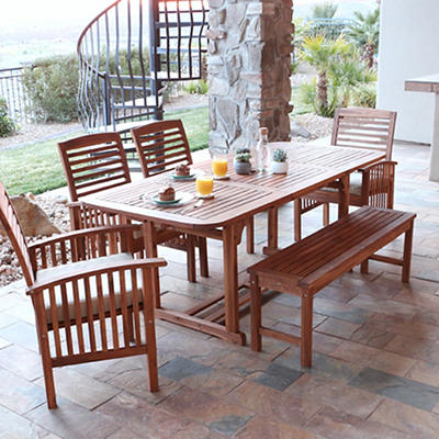 W. Trends 6-Pc. Acacia Wood Patio Dining Set - Natural