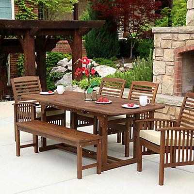 W. Trends 6-Pc. Acacia Wood Patio Dining Set - Dark Brown
