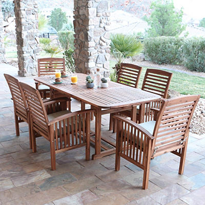 W. Trends 7-Pc. Acacia Wood Patio Dining Set - Natural