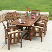 W. Trends 7-Pc. Outdoor Hunter Acacia Wood Dining Set - Brown