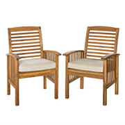 W. Trends Outdoor Hunter Acacia Wood Dining Chairs - Brown