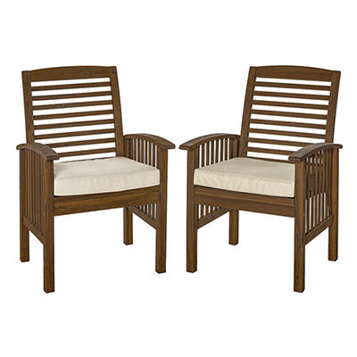 W. Trends Acacia Wood Patio Chairs, 2 pk. - Dark Brown