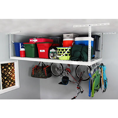 SafeRacks 4' x 8' Overhead Garage Storage Rack with Accessory Hooks, 2