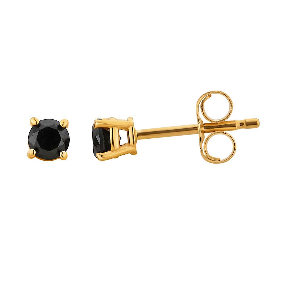50 Ct T W Black Diamond Studs In 14k Yellow Gold